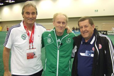 Ralf Peter (DFB), Rudi Zimmermann (NSCAA Manager of Presentations) and Peter Schreiner (Institute of Youth Soccer Germany).